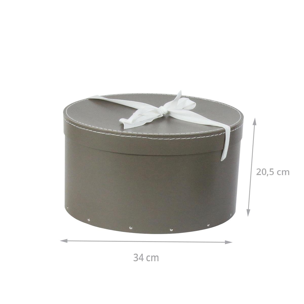bo te chapeaux taupe avec ruban blanc rangement. Black Bedroom Furniture Sets. Home Design Ideas