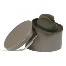 Grande boîte à chapeaux gris taupe avec ruban blanc (L)