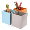 Pot à crayons en bois teinté bleu