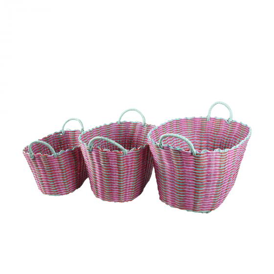 Panier en scoubidou rose et rouge (taille L)