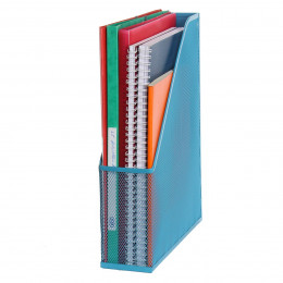 Range-dossiers en maille métallique bleu turquoise