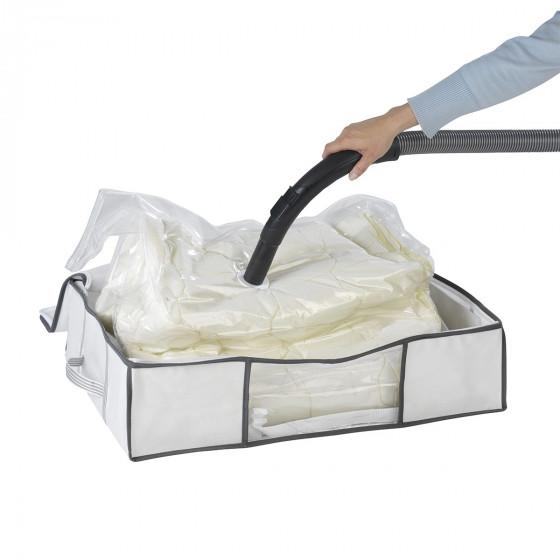 Housse sous vide pour sous le lit blanche avec sangles (taille M)