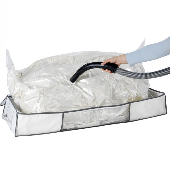 Housse sous vide pour sous le lit blanche avec sangles (taille XL)
