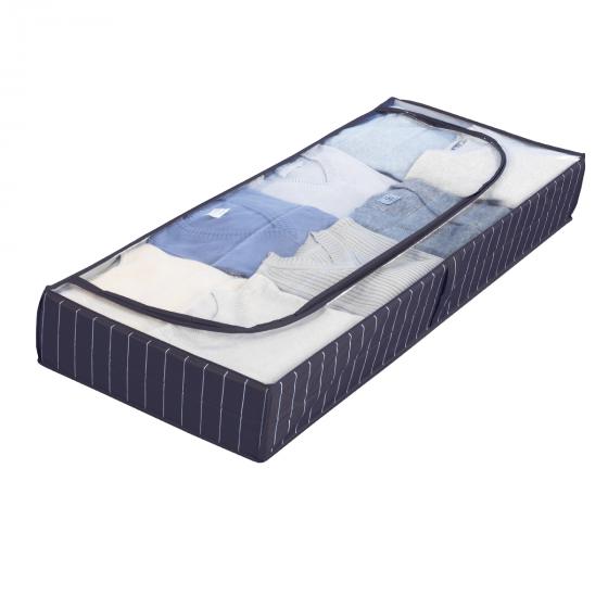 Housse pour sous le lit, bleue à rayures blanches