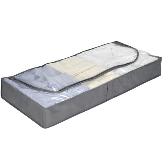 Housse pour sous le lit en intissé gris avec fermeture éclair