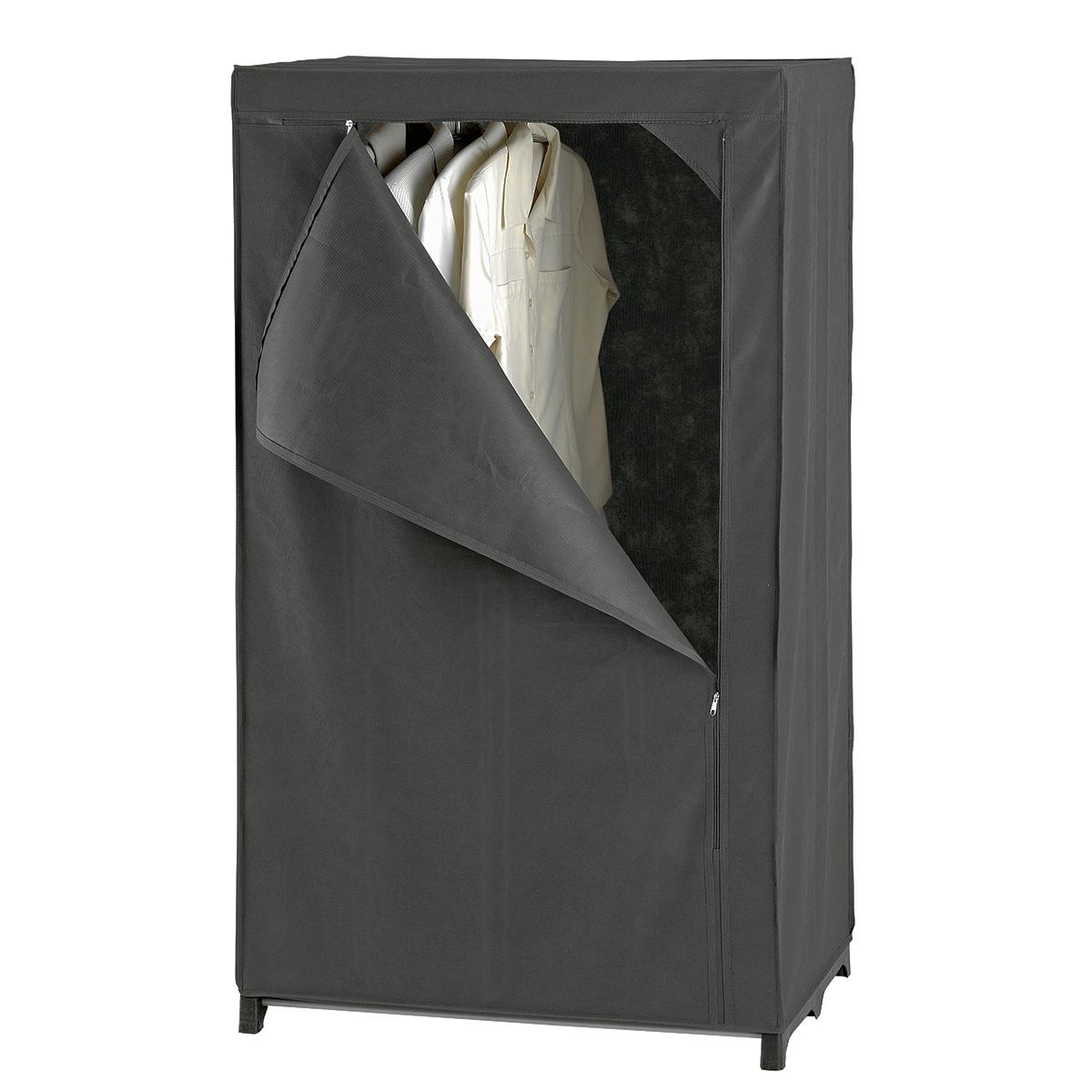 Armoire penderie en tissu gris dressing rangement v tements - Housse pour armoire penderie ...