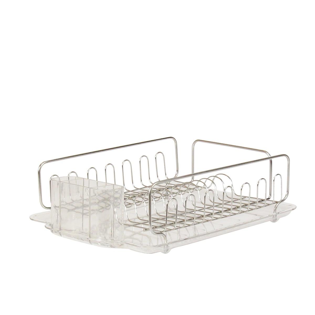 Egouttoir en inox et plastique transparent rangement cuisine for Plateau en inox cuisine