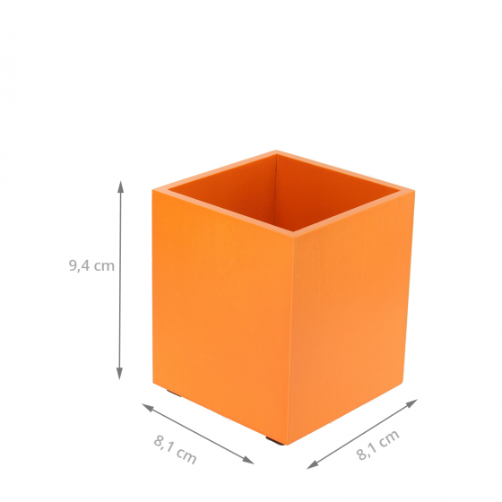 Pot à crayons en bois teinté orange