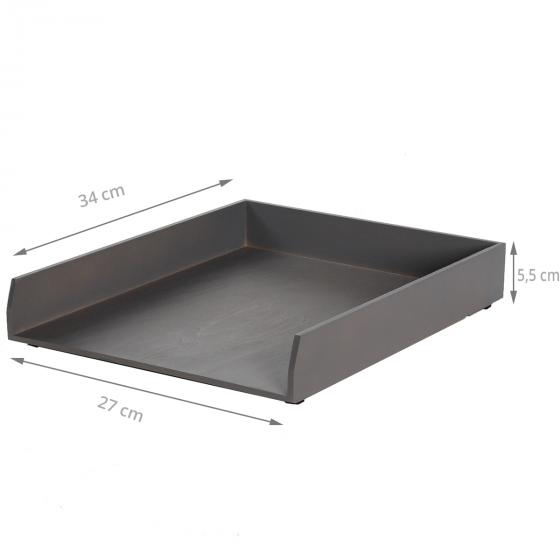 corbeille courrier bois gris fonc rangement bureau. Black Bedroom Furniture Sets. Home Design Ideas