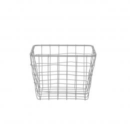 Panier carré en métal gris clair (L)