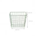 Panier carré en métal vert pastel (M)