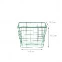 Panier carré en métal vert émeraude (S)