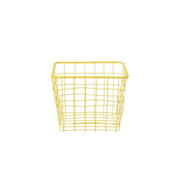Panier carré en métal jaune canari (XS)