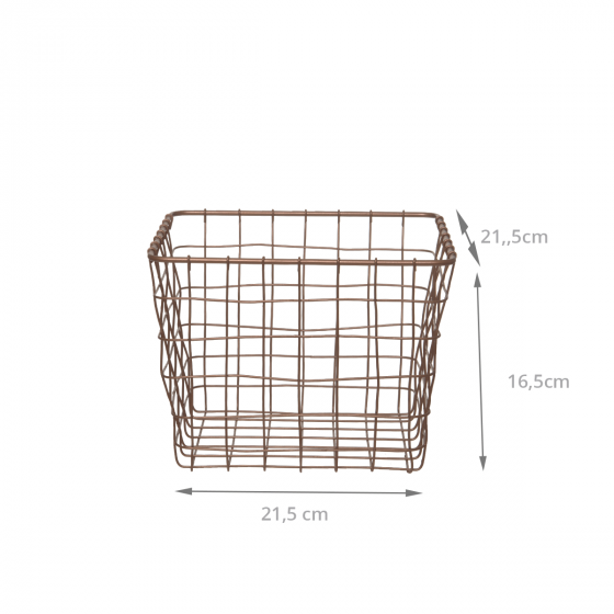 Panier carré en métal couleur bronze (L)