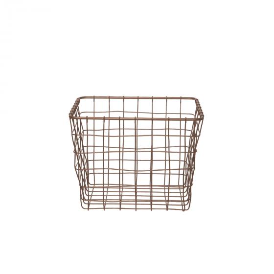 Panier carré en métal couleur bronze (M)