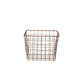 Panier carré en métal couleur bronze (XS)