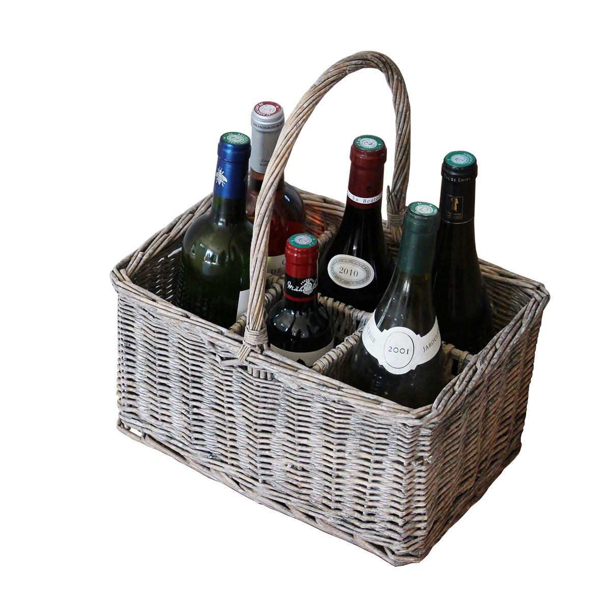 Panier porte bouteilles en osier rangement for Porte 6 bouteilles metal