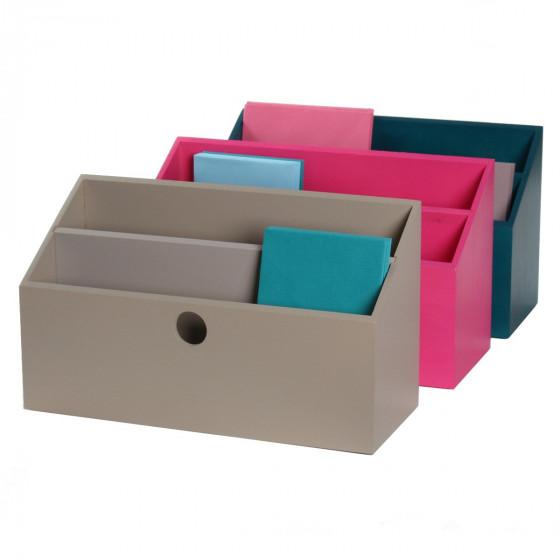 Porte lettres bois gris taupe rangement courrier - Bureau gris taupe ...