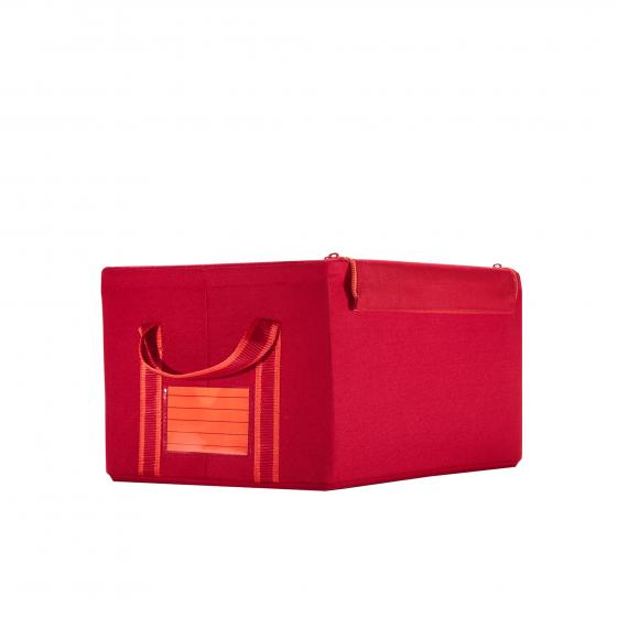 Boîte de rangement en tissu rouge avec armature S