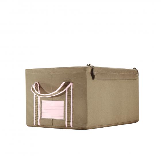 Boîte de rangement en tissu kaki avec armature S