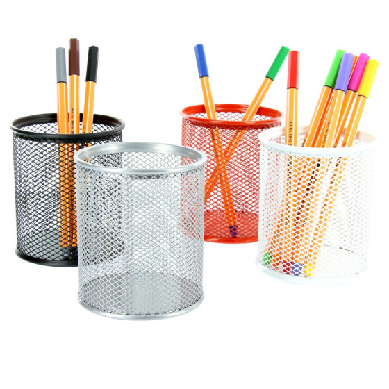 Pot à crayons en maille métallique gris argent