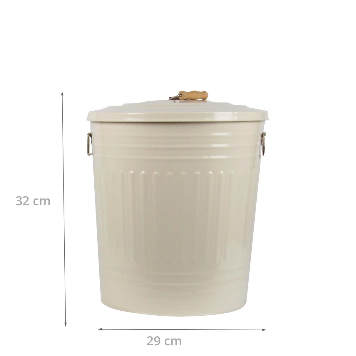 Poubelle r tro m tal cr me 18 litres rangement cuisine for Poubelle salle de bain retro