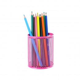 Pot à crayons en maille métallique fuchsia