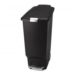 Poubelle noire étroite de 40 L à 2 roues pour extérieur ou intérieur