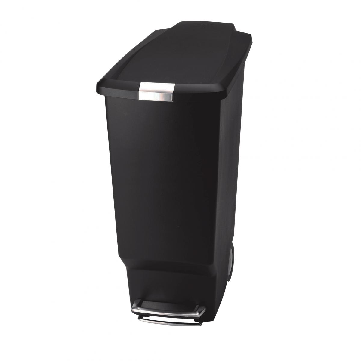 Poubelle noire roues 40 litres rangement cuisine for Rangement pour poubelle exterieur