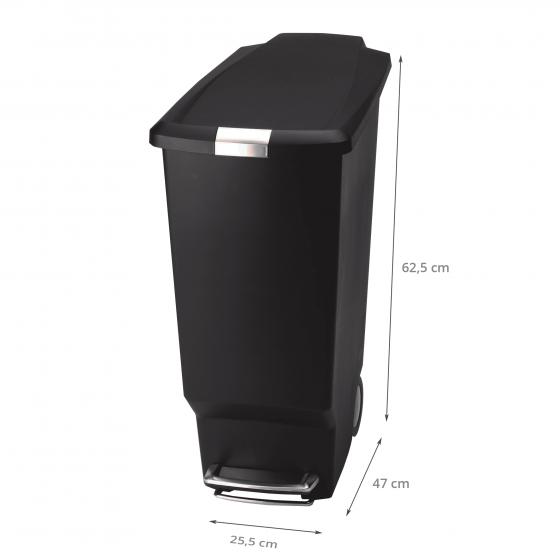 poubelle noire roues 40 litres rangement cuisine. Black Bedroom Furniture Sets. Home Design Ideas