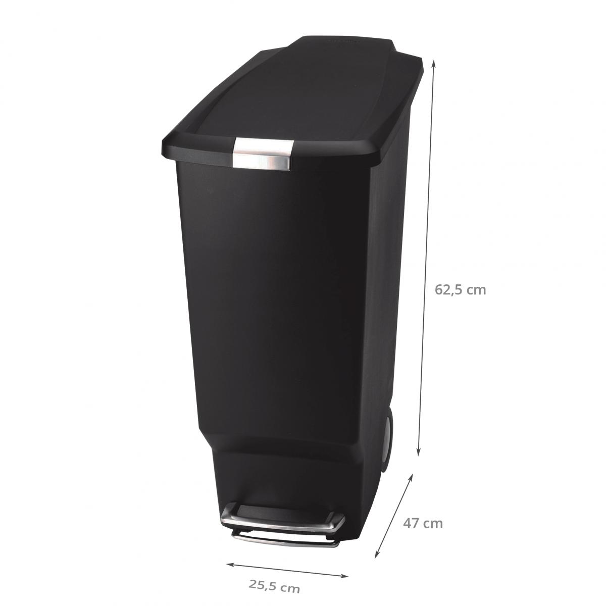 Poubelle noire roues 40 litres rangement cuisine for Poubelle exterieur roulette