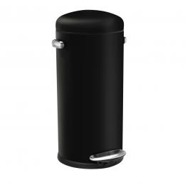 Poubelle 30 L rétro en métal noir avec pédale