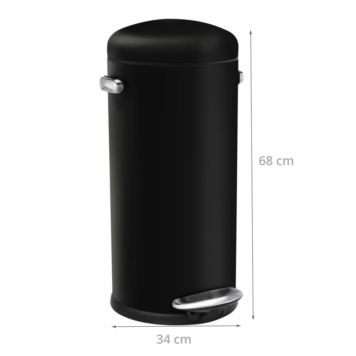 poubelle r tro en m tal noir p dale 30 litres cuisine. Black Bedroom Furniture Sets. Home Design Ideas