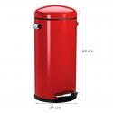 Poubelle 30 L rétro en métal rouge avec pédale