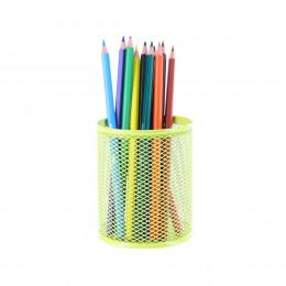 Pot à crayons en maille métallique vert anis