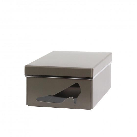 Boîte à chaussures en carton taupe avec fenêtre
