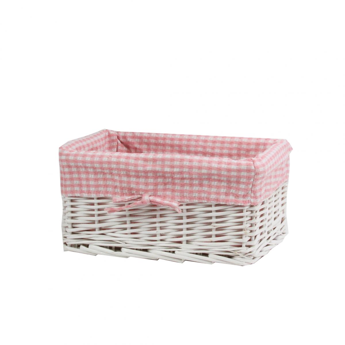 Panier de rangement en osier blanc et vichy rose for Panier osier rangement salle de bain