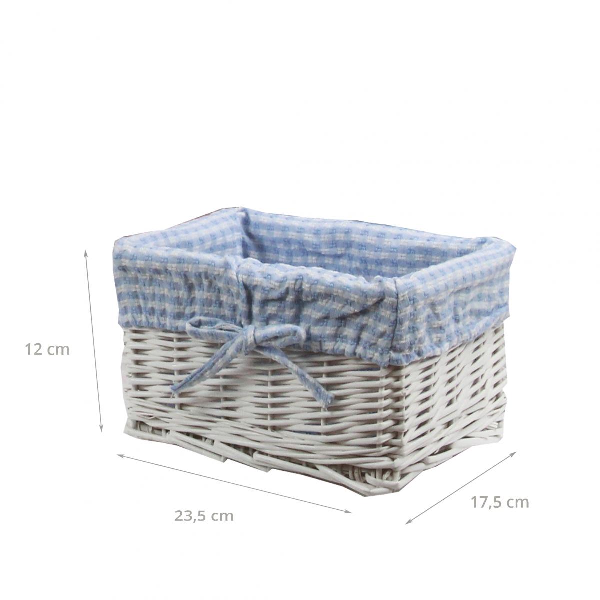 panier de rangement en osier blanc et vichy bleu. Black Bedroom Furniture Sets. Home Design Ideas