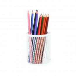 Pot à crayons en maille métallique blanche
