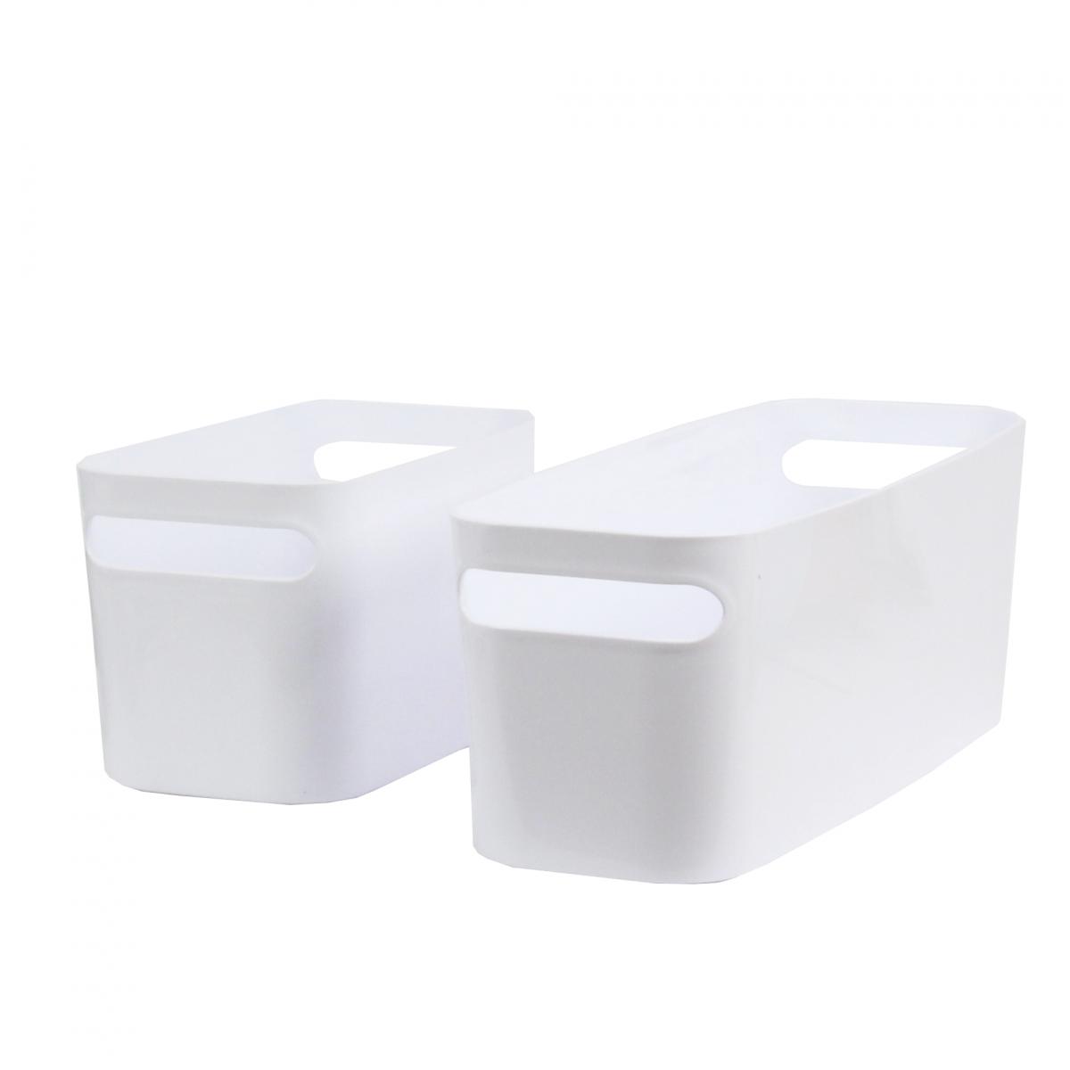 long bac rectangulaire en plastique blanc brillant avec 2 poign es livraison gratuite en point. Black Bedroom Furniture Sets. Home Design Ideas