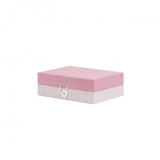 Bo te bijoux en carton motifs roses rangement bijoux - Boite a bijoux en carton fabrication ...