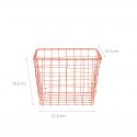 Panier carré en métal corail (L)