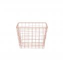 Panier carré en métal rose pastel (M)
