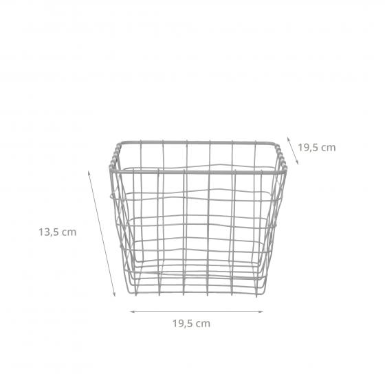 Panier carré en métal gris clair (S)