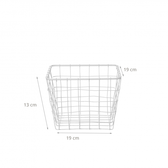 Panier carré en métal blanc (XS)