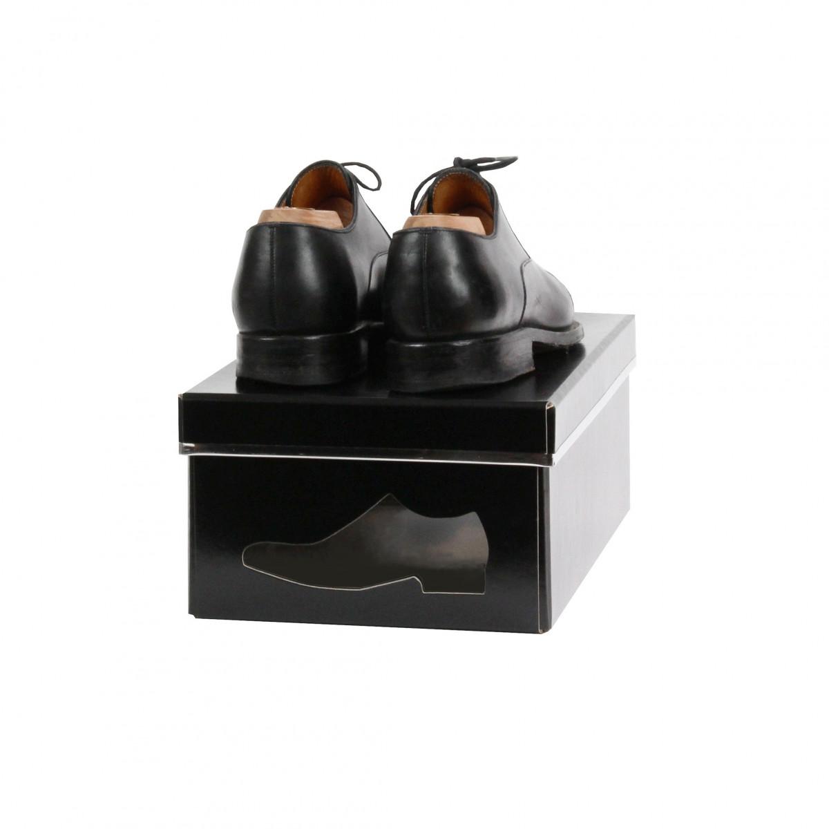 Bo te chaussures en carton noir rangement - Boite rangement chaussures plastique ...