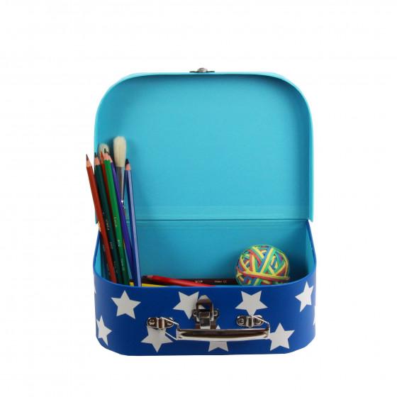 petite valise en carton bleu toiles blanches livraison. Black Bedroom Furniture Sets. Home Design Ideas
