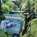 Panier à vélo avec couvercle en scoubidou vert et blanc