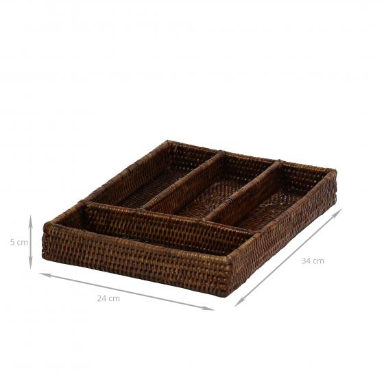 rangement vaisselle et couverts  range en rotin tresse a compartiments