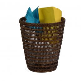 Corbeille à papier en rotin tressé ajouré